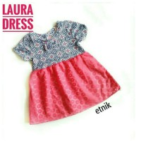 LAURA ETNIK DRESS kids fashion baju perempuan cewek dres batik anak