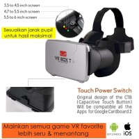 3D VR BOX T Cardboard 2 with Capacitive Touch Button,Glasses Kacamata
