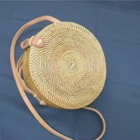 Jual Tas Rotan bulat Klip 20 cm   rattan bag original Lombok bali murah Murah