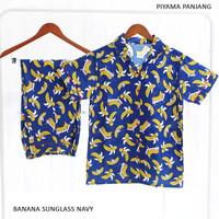 Baju Tidur Katun Piyama Panjang Banana Sunglass Navy