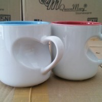 Mug Coating Murah Warna Dalam Gagang Hati Love