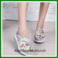 Jual Grosir sepatu wanita slip on bunga abu sport / kets / casual murah Murah