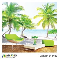 Wallpaper Custom Printing - Wallpaper Dinding Custom Gambar Pantai 3D