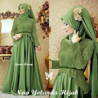 Yolanda Hijab Green army Busana Muslim Wanita Gamis Terbaru