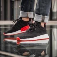 Adidas nmd r2 black red premium quality sepatu santai