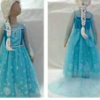 Baju Frozen Dress Elsa Frozen Rok Motif,Gaun Frozen Murah, Dress Biru