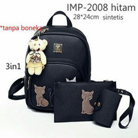Grosir Tas Fashion Branded Wanita Import Backpack Korea imp-2008 hitam