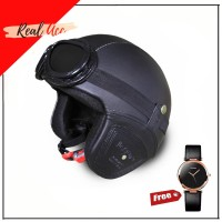 Helm Retro Helm Bogo Kulit Dan Kacamata -Free Jam Tangan Wanita Cantik