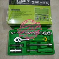 TEKIRO Kunci Sok Set 1/4″ – 3/8″ 21 pcs Plastik