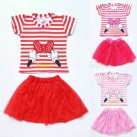 MURAH Baju Setelan Anak Bayi Perempuan Kaos Garis Pita Minnie Rok Tut