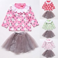PROMO Baju Setelan Anak Bayi Perempuan Kaos Kelinci Bunny Rok Tutu Ab