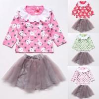 MURAH Baju Setelan Anak Bayi Perempuan Kaos Kelinci Bunny Rok Tutu Ab