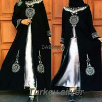 Jual Abaya / Jubah / Gamis Bordir Turki Silver Plus Kerudung Pashmina Murah