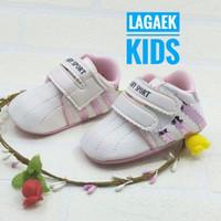 prewalker sepatu bayi perempuan 0 - 9 bulan PUTIH list PINK/prewalker