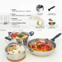 Peralatan masak 1 SET,  Kuali Gagang, Kukusan, Wajan Stainless