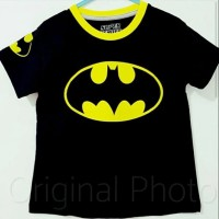 Baju superhero kaos anak cowok batman hitam kuning usia 1 - 10 tahun