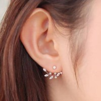 anting fashion korea bentuk cabang daun berlian zircon earrings jan112