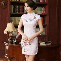 HQ 20464 White Flower Embroidered Cheongsam Baju Tahun Baru Imlek