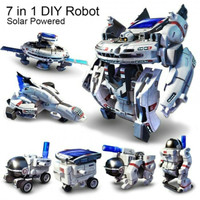 Mainan edukasi 7 in 1 rakit DIY solar toy robot spaceship