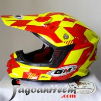 GM Helm CROSS KIDS # TR-04 ANAK | Yellow FLUO Red | MotoCross TRAIL