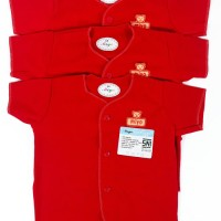 Pakaian Anak Bayi Newborn Miyo Baju Pendek Bayi Merah 0-3 Bulan