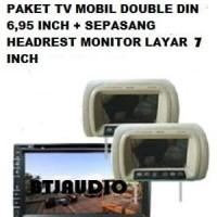 PAKET TV MOBIL DOUBLEDIN 6,95 INCH PLUS HEADREST MONITOR LAYAR Diskon