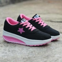 Free Bonus !!! Sepatu Converse Wedges Senakers Women - Black Pink