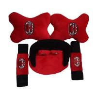 Car Set Tempat Tissue Bantal Mobil Leher Merah AC Milan 3 in 1