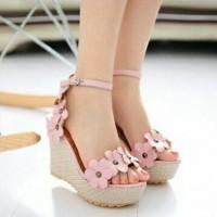 Harga sepatu wedges pesta pink bga sandal fashion | Hargalu.com