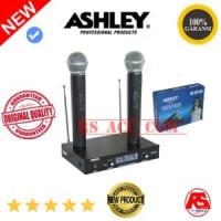 Murah !!! Microphone Mic Wireless Ashley Ktv 2 Professi Premium
