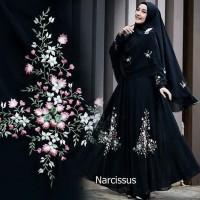 Baju Muslim Syar'i [Narcissus black GZ] gamis wanita ceruti hitam