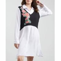 Pakaian Cewek baju cewek pakaian wanita mini dress kemeja kombinasi