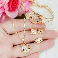 SET anak hello kitty Kalung Gelang Cincin Anting MURAH