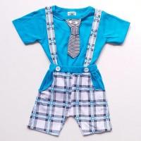 Baju Setelan Anak Bayi Laki Cowok Celana Overall Kotak Kaos Dasi Garis