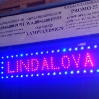 Tulisan OPEN Lampu Led Sign display LINDALOVA nama toko usaha - MURAH