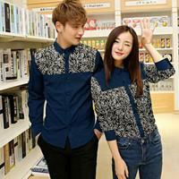 Kemeja Couple Lengan Panjang Baju Couple Kemeja Leaf Navy Susan