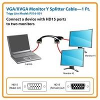 VGA Male to 2 VGA Female Display 1 Device ke 2 Monitor VGA Splitter