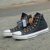 sepatu sneakers untuk wanita dan pria converse indo black tali tan
