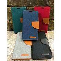 Flip Case Canvas Lenovo A2010 Diary Kick Stand Wallet Sarung Dompet