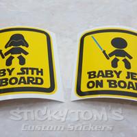 stiker safety lucu Baby Jedi / Sith On Board (Star Wars)