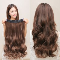 hairclip curly panjang murah - Cokelat thumbnail