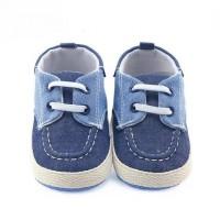 Sepatu Prewalker PW Anak Bayi Laki Cowok Casual Biru Denim Tali Putih