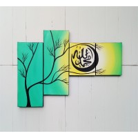 lukisan kaligrafi minimalis panel allah dan muhammad hijau