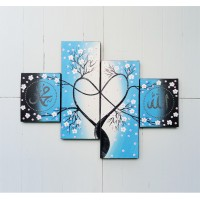 lukisan kaligrafi panel minimalis nuansa biru