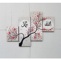 hiasan dinding lukisan minimalis kaligrafi bunga sakura merah KB-M