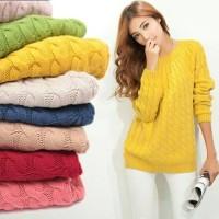 BAJU WANITA SWEATER Sweater wool rajut hitam