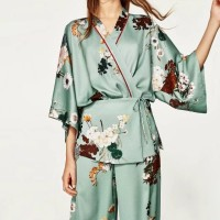 Zara Kimono Lookalike Blue Flower Cardigan