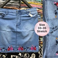 Jual Rok Jeans Bordir Rose Size 33 34 35 Stretch Import Soft Denim Sky Blue Murah