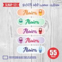 sticker label nama anak kartun girl flower mawar muslimah SLNAP-121
