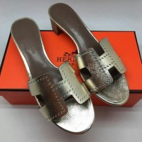 Original Authentic PK UA SANDAL HERMES OASIS Silver MIRROR QUALITY DI